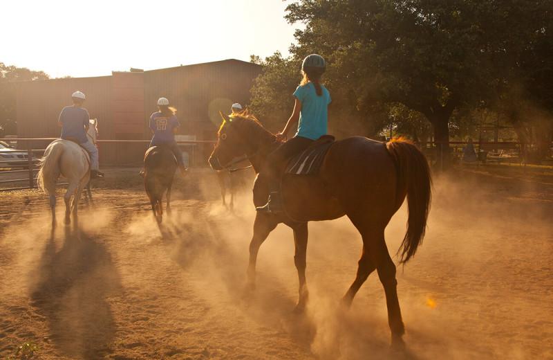 Horseback riding at The Retreat at Balcones Springs.