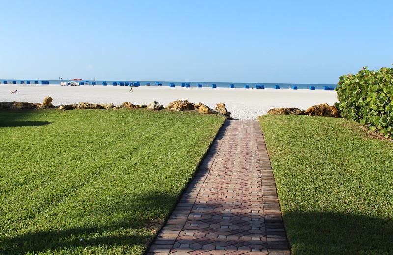 Walkway to beach at Gulfview Manor Resort.