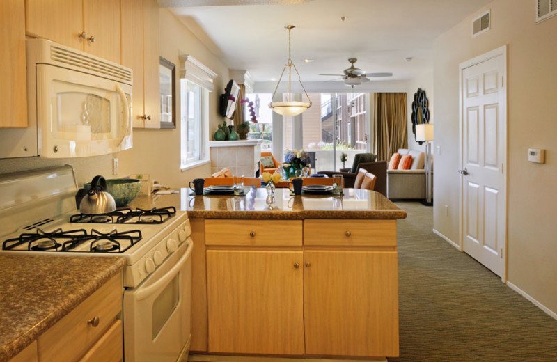 Kitchen of a Two Bedroom Unit at the Carlsbad Seapointe Resort