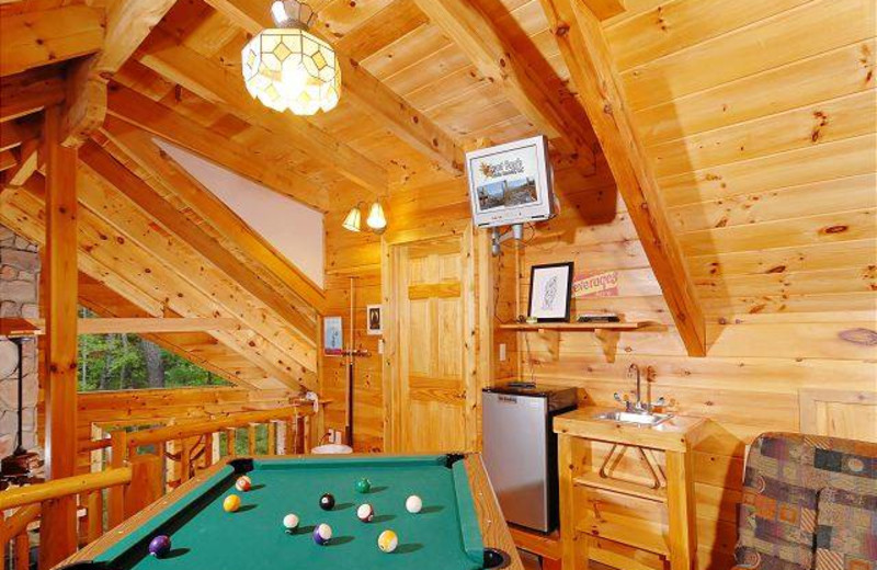 Cabin game room at Aunt Bug's Cabin Rentals, LLC.