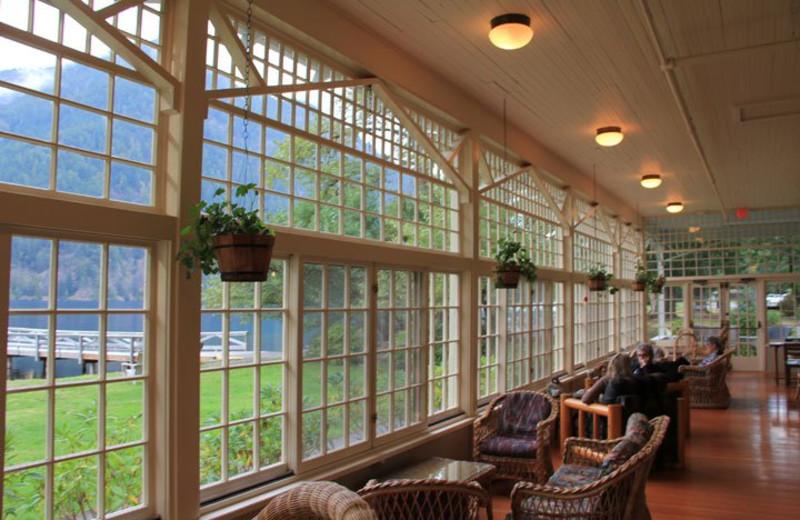 Sitting area at Lake Crecent Lodge.