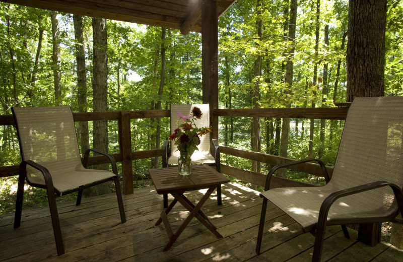 Cabin porch at Montfair Resort Farm.