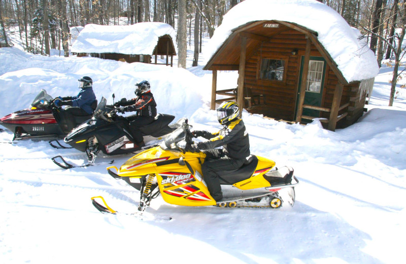 Snowmobiling at Old Forge Camping Resort.