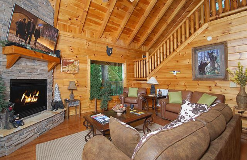 Rental living room at Smoky Mountains Vacation Cabins, LLC.