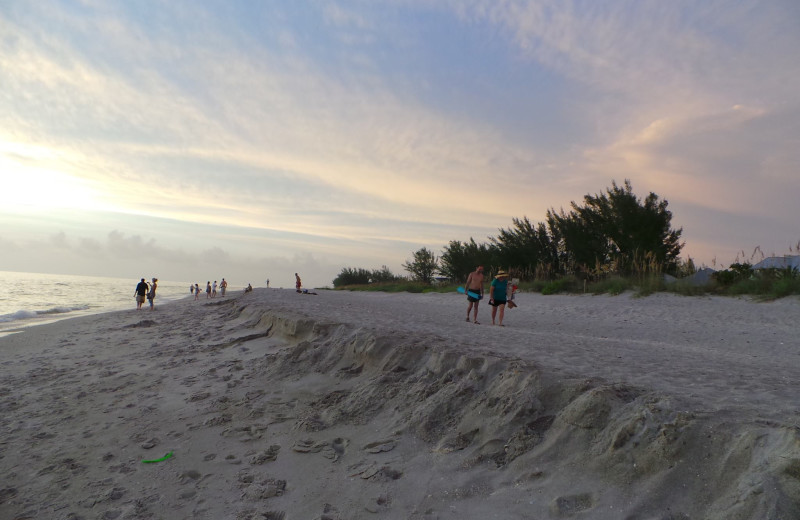 The beach at Gulf Breeze Cottages.