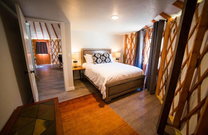 Guest bedroom at Escalante Yurts.