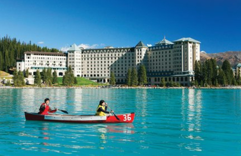 Canoeing on Lake Louise at The Fairmont Chateau Lake Louise.