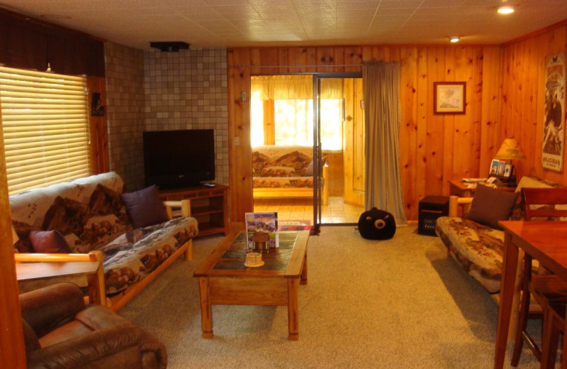 Cabin living room at Yellowstone Wildlife Cabins.