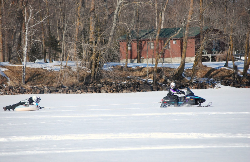 Snowmobiling at Geiger's Trails End.