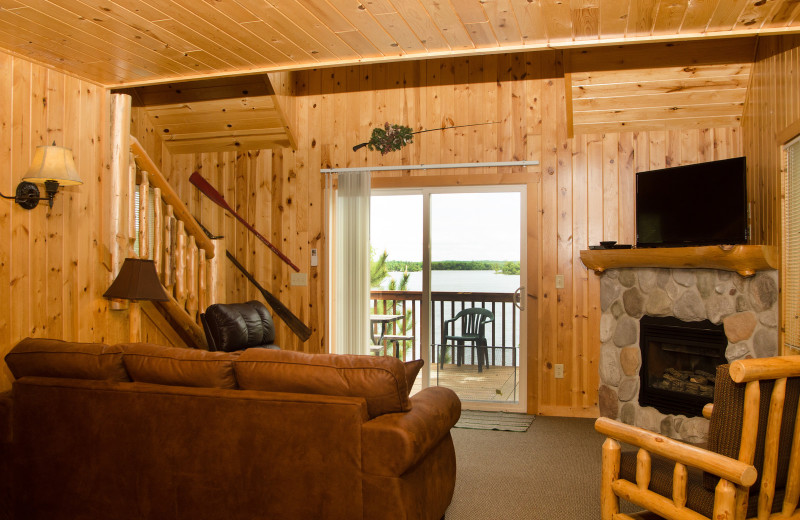 Cabin living room at Woodland Beach Resort.