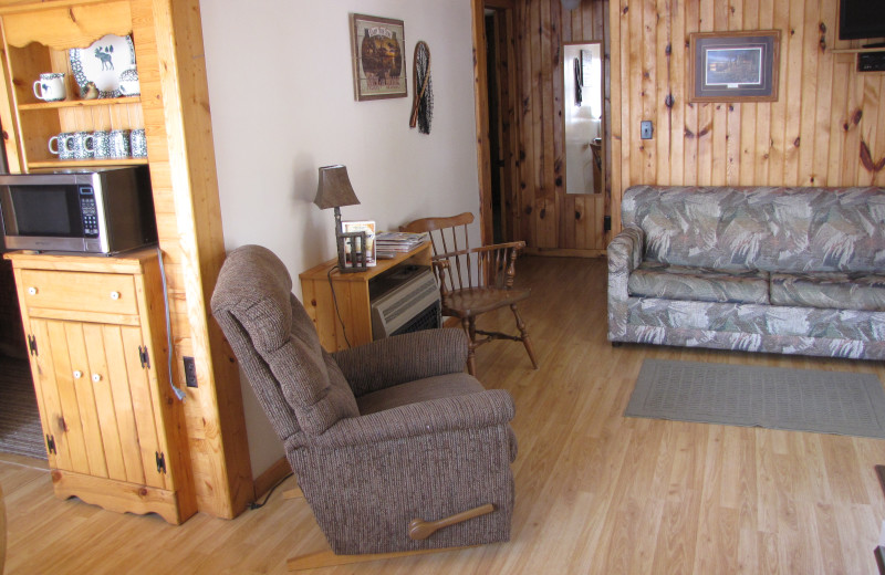 Cabin interior at Mill Lake Resort.
