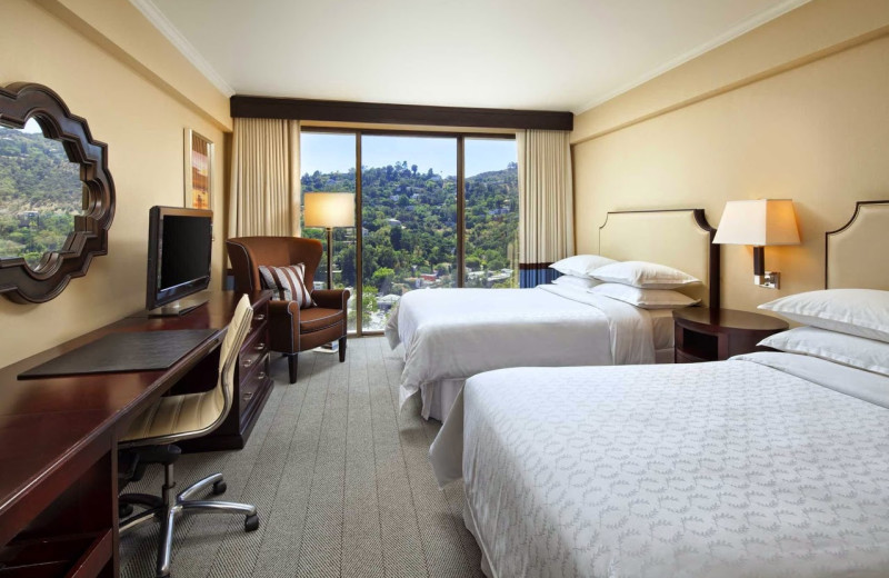 Guest room at Sheraton Universal Hotel.