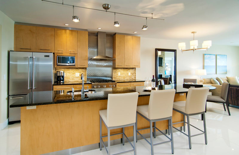 Guest kitchen at Waters Edge Resort and Spa.