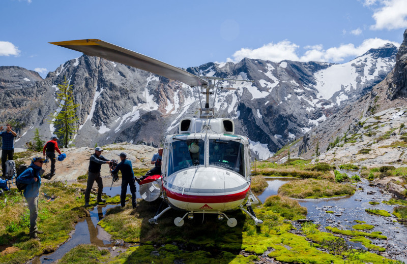 Helicopter excursions at Cariboos Lodge.