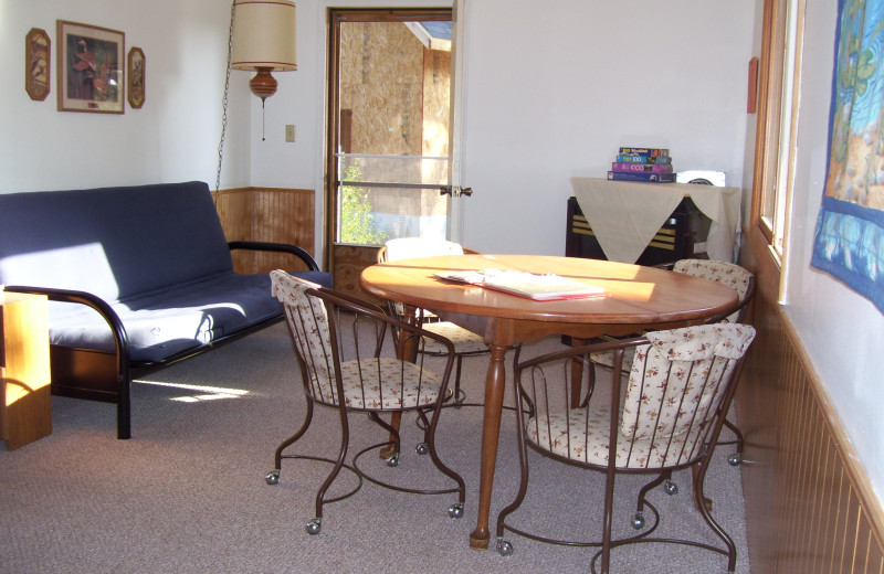 Cabin living room at Shady Hollow Resort and Campground.