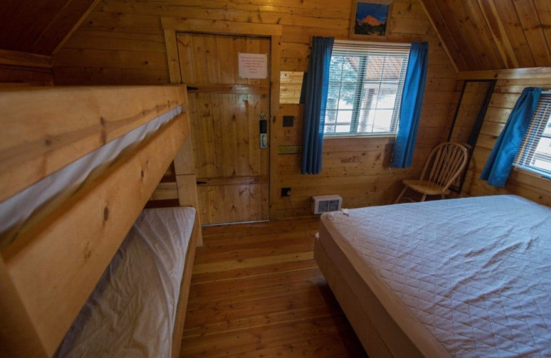 Cabin bedroom at Colorado Springs KOA.