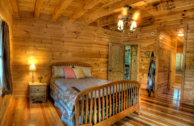 Rental bedroom at Hidden Creek Cabins.
