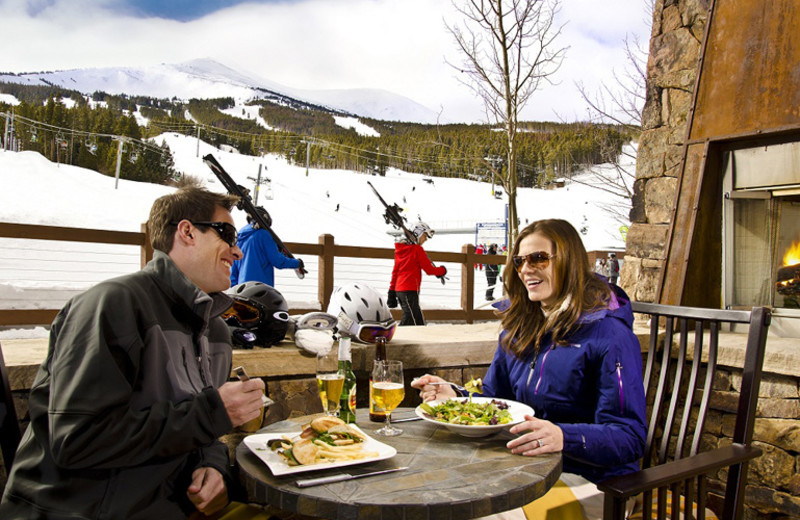 Patio dining at One Ski Hill Place.