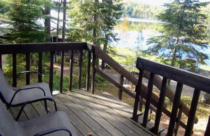 Cabin deck at Loon Lake Lodge.