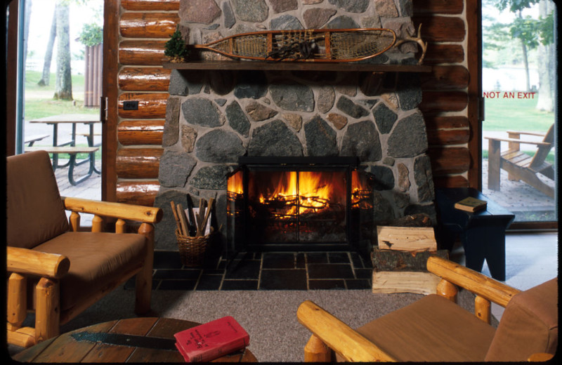 Cabin fireplace at Pitlik's Sand Beach Resort.