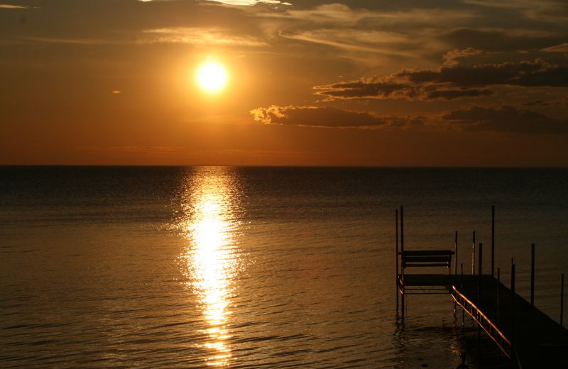 Sunset over the lake at The Shallows Resort.
