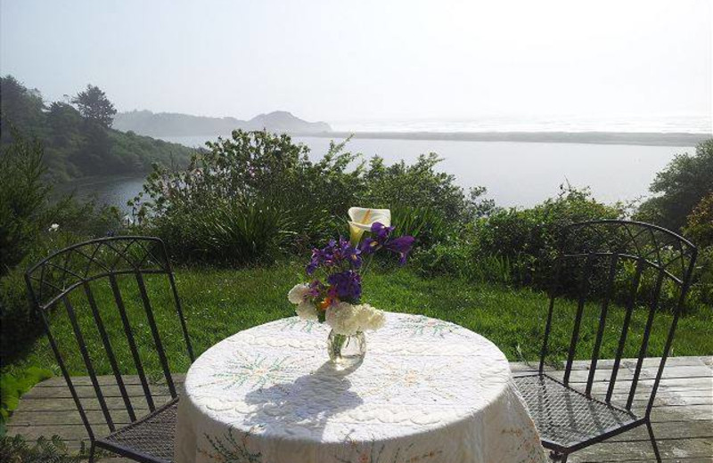Patio view at Redwood Coast Vacation Rentals.