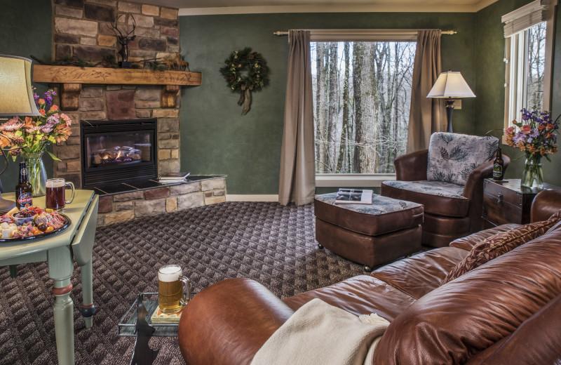 The Muir Cottage living room at Glenlaurel, A Scottish Inn & Cottages.
