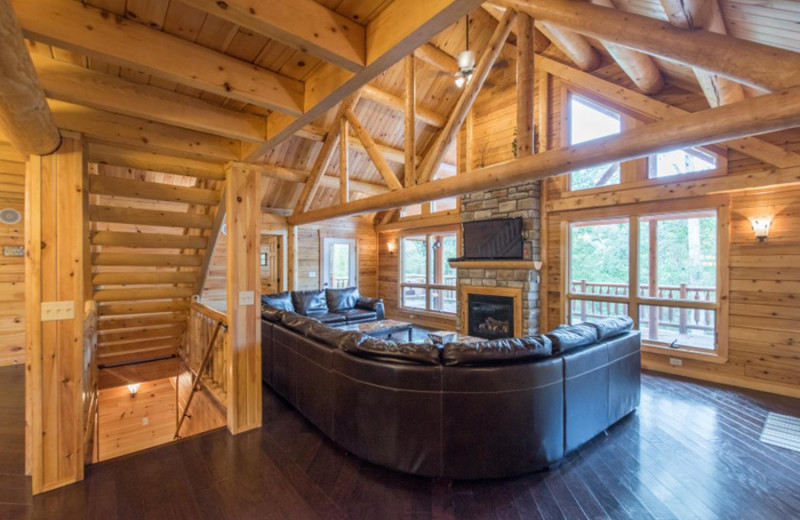 Cabin living room at Cut Above Cabins.