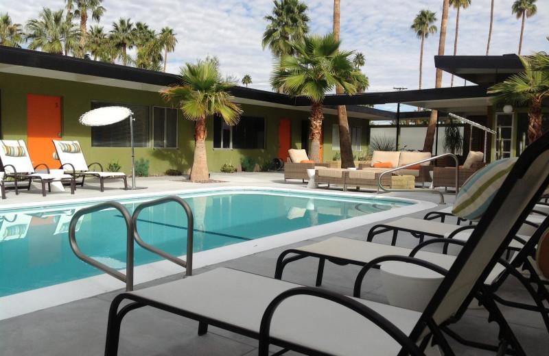 Outdoor pool at Desert Star Hotel.