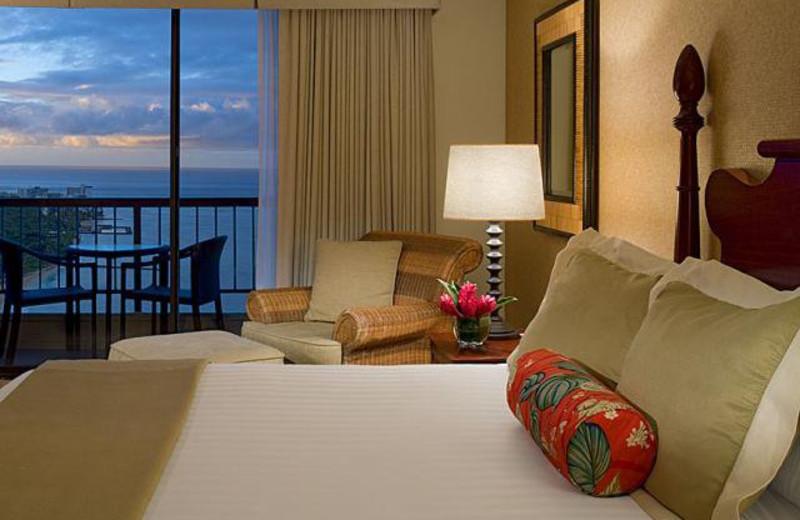 Ocean view bed room at Hyatt Regency Waikiki Resort & Spa.