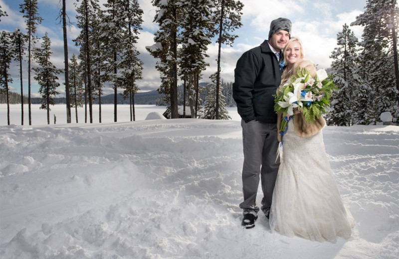 Wedding couple at Elk Lake Resort.