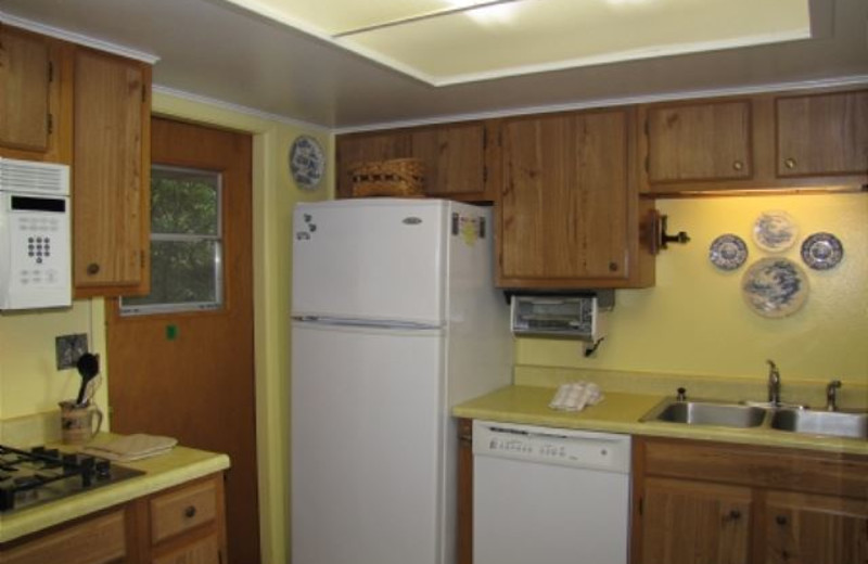 Rental kitchen at Mountain Lake Rentals.