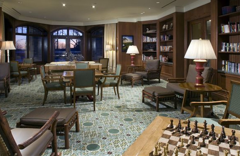 The library at JW Marriott The Rosseau Muskoka Resort & Spa.