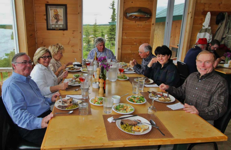 Dining at Alaska Trophy Adventures Lodge.
