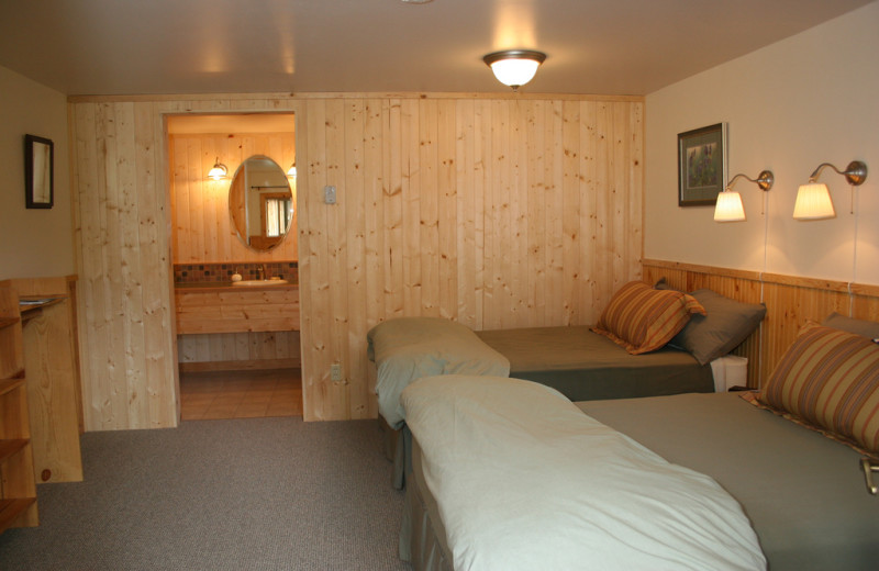 Cabin bedroom at Kenai Riverside Lodge.