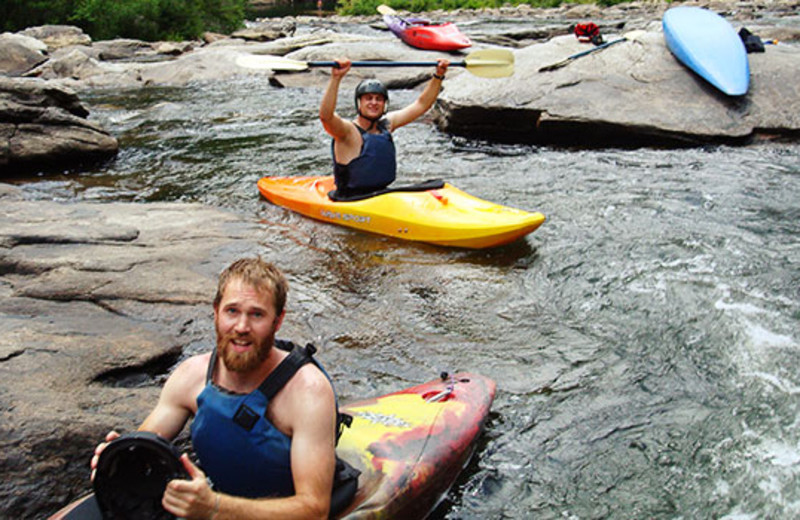 Kayaking at Montana River Lodge.