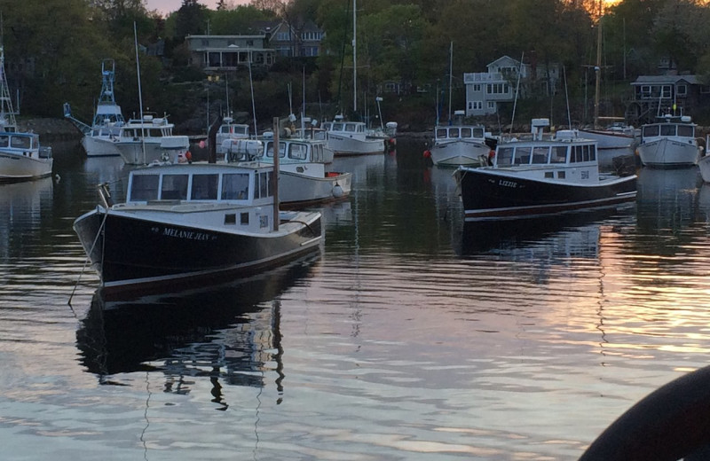 Boats at Footbridge Beach Motel.