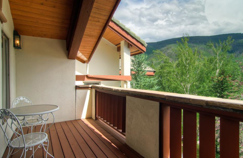 Rental balcony at Accommodations Vail Beaver Creek.