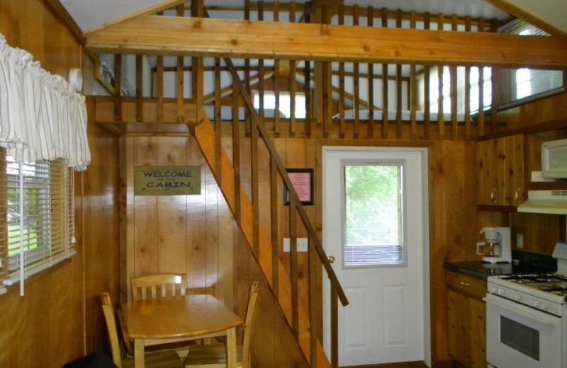 Cabin interior at Lake Ridge Resort.