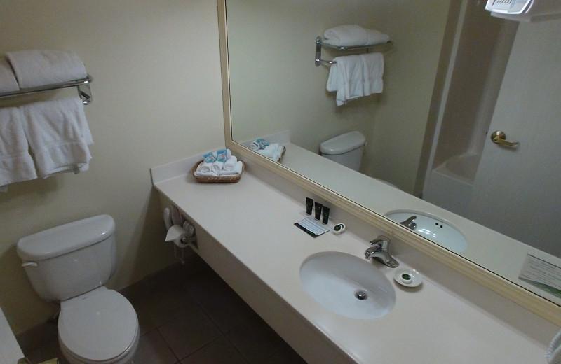 Guest bathroom at The Cherry Tree Inn & Suites.