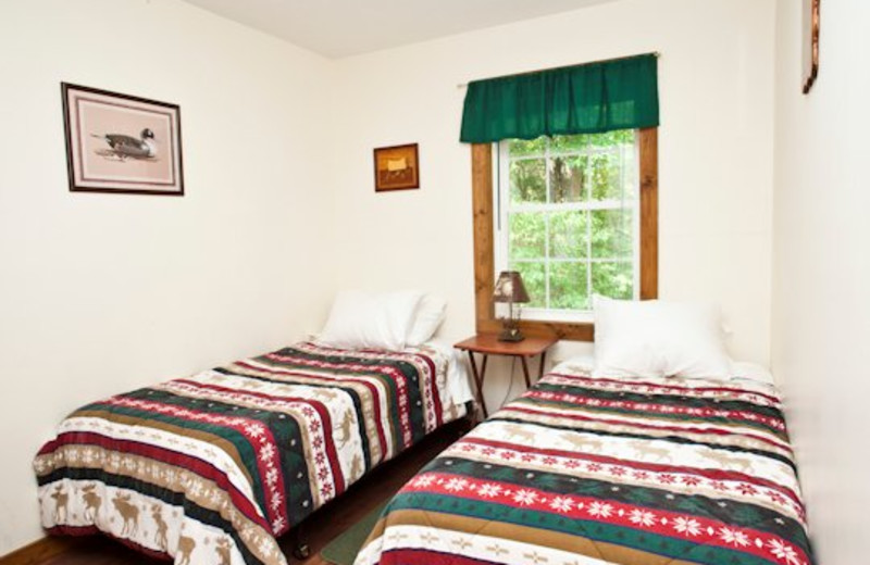 Double bed view at Willowbrook Cabins.