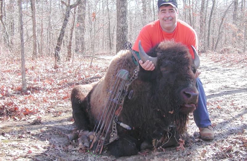 Bison Red hunting at Caryonah Hunting Lodge.