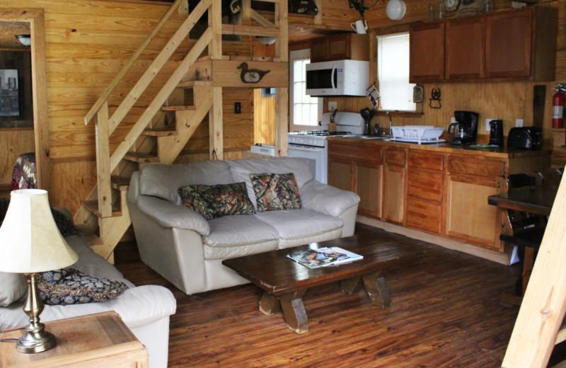 Cabin interior at Berry Creek Cabins.