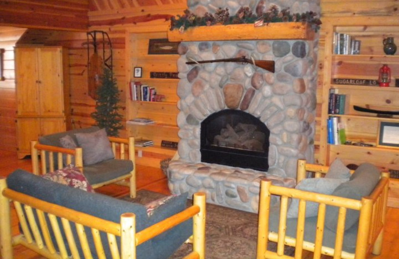 Fireplace living room at Mountain Springs Lodge.