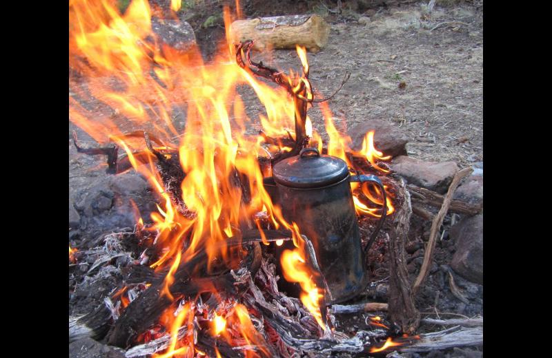 Campfire at Rimrock Dude Ranch.