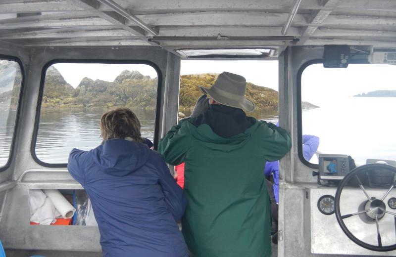 Boating at Zachar Bay Lodge.