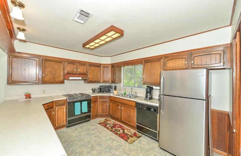 Rental kitchen at Vacation New Braunfels.