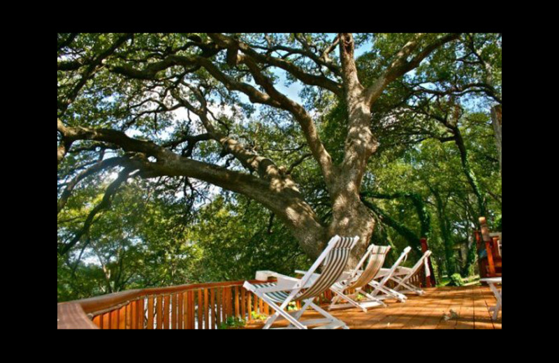 Cabin deck at Cool Water Cabin Rental - Lake LBJ.