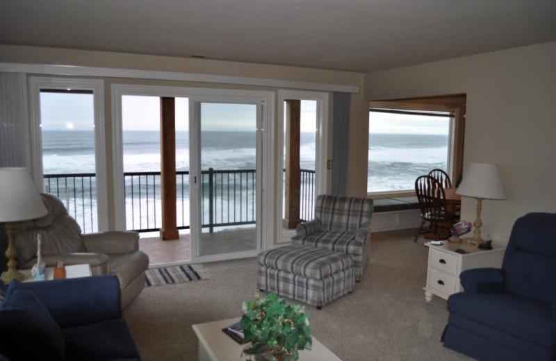Unit 30 deck and living room at Cavalier Beachfront Condominiums.
