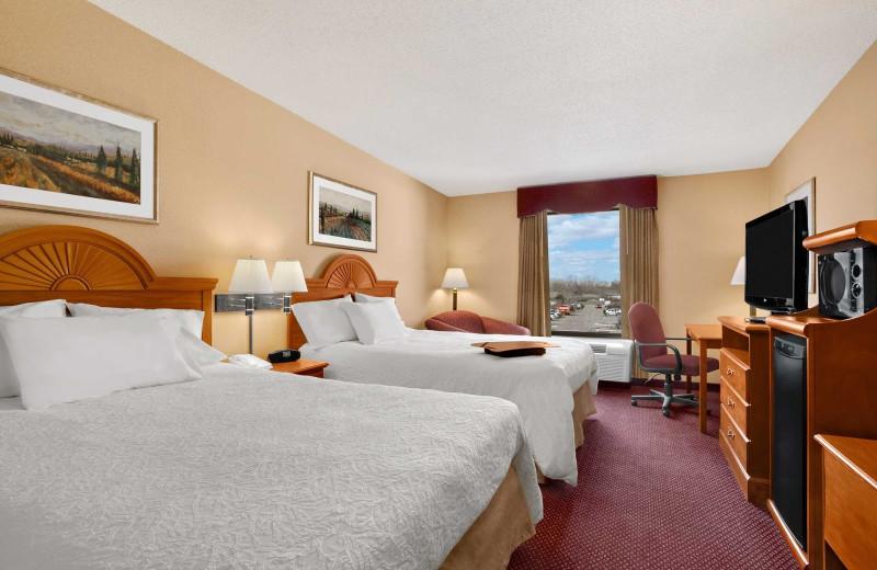 Guest room at Hampton Inn & Suites.